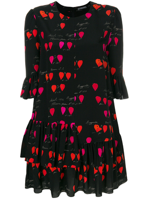 Alexander McQueen 3/4 Sleeve Petal Print Dress Dresses