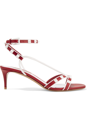 Valentino Red and White Stud Heeled Sandal Shoes