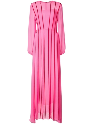 Adam Lippes Pink Chiffon Long Sleeve Gown with Contrast Piping Dresses