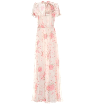 Valentino Short Sleeve Rose Gown Dresses