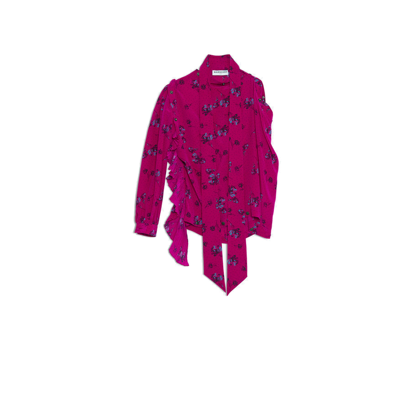 Balenciaga Long Sleeve Snap Floral Fuchsia Blouse Tops