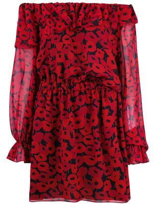Saint Laurent Georgette Off the Shoulder Mini Dress in Red Floral Dresses