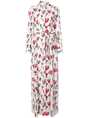 Oscar de la Renta Long Sleeve Heart Maxi Shirt Dress Dresses