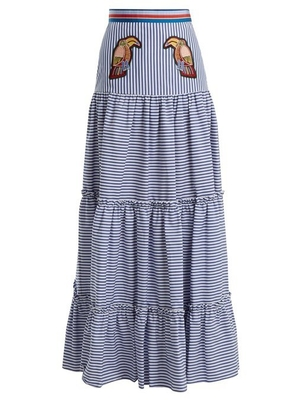 Stella Jean Maxi Tiered Skirt with Parrots Skirts