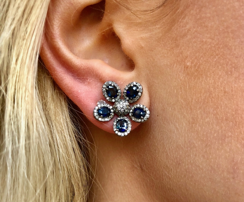 The Woods Fine Jewelry Sapphire & Diamond Flower Studs Jewelry