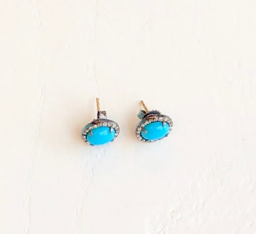 The Woods Fine Jewelry Turquoise & Diamond Stud Earrings Jewelry