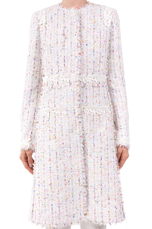 Giambattista Valli White Tweed Coat with Lace Detail Outerwear