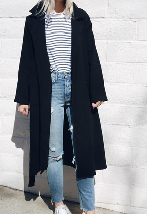 the lady  & the sailor The Belted Coat - Black Outerwear