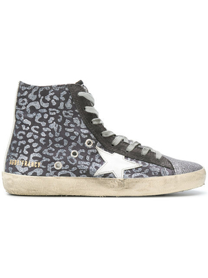 Golden Goose Deluxe Brand High Top Sneaker in Glitter Leopard Shoes