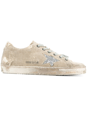 Golden Goose Deluxe Brand Superstar Sneakers in Canvas and Silver Glitter Shoes