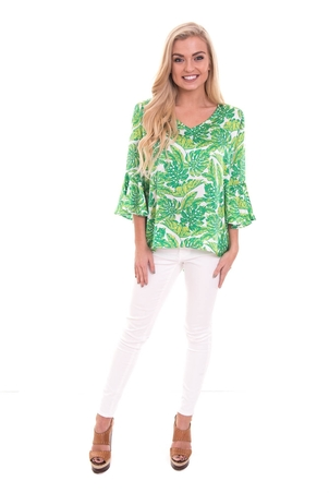 LaRoque Park Top Charleston Palm Print Tops