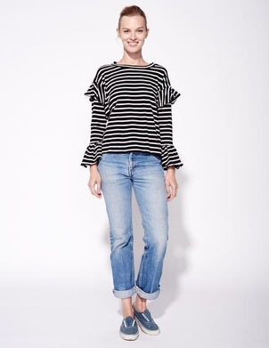 Sundry Striped Ruffle Sleeve Top Tops