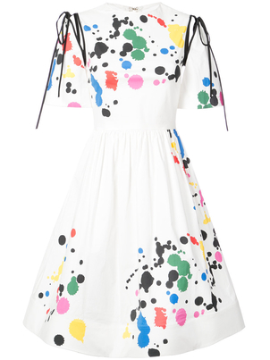 Oscar de la Renta Short Sleeve Cotton Tie Splatter Dress Dresses