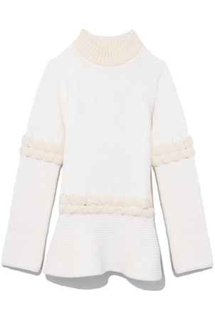 Sacai Braided Knit Pullover in Off White/Ecru Tops