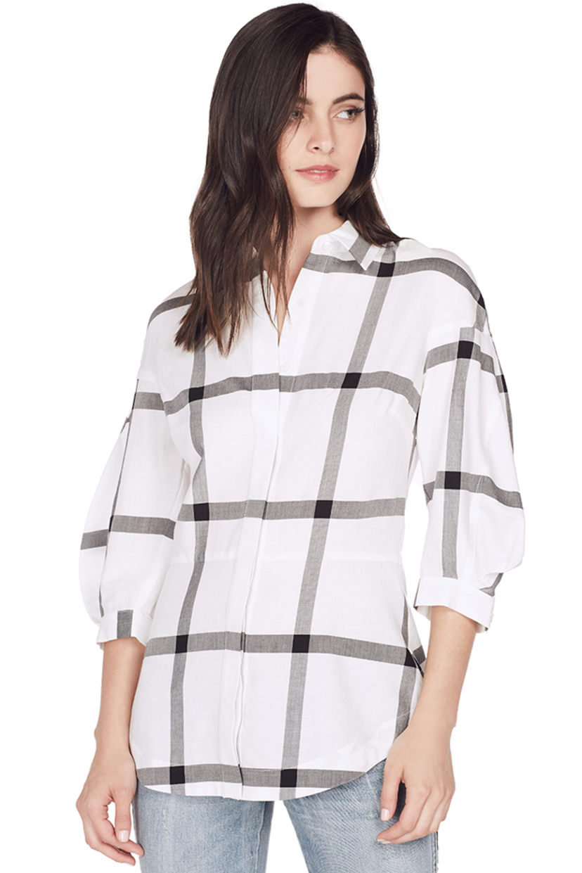 Derek Lam L/S Button Down Shirt w/ Lace Up Back (White) Sale Tops