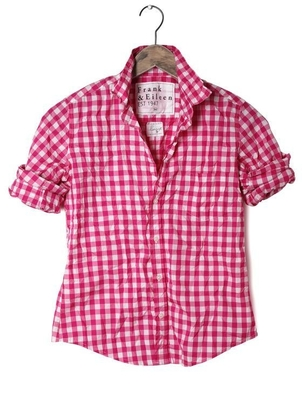 Frank & Eileen Barry Button Dowm Large Hot Pink Check Tops