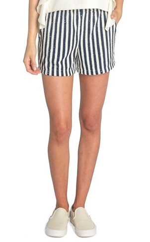 Koch Bondi Shorts - Navy Sequin Stripe Shorts
