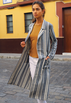the lady  & the sailor Belted Coat – Stripe Outerwear