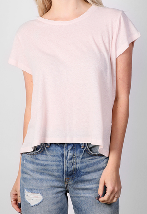 the lady  & the sailor Shrunken BF Tee - Linen Cotton - Pale Pink Tops