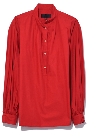 Nili Lotan Claira Top in Vermillion Red Tops