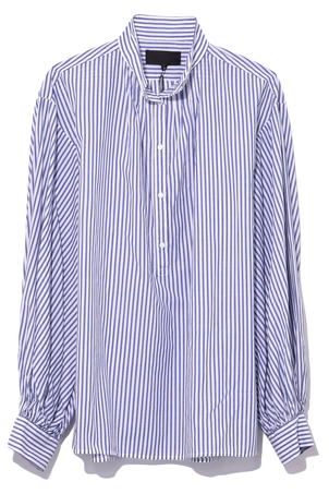 Nili Lotan Claira Top in White Blue Stripe Tops