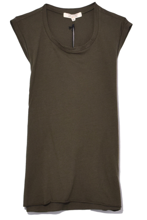 Nili Lotan Sleeveless Muscle Tee in Army Green Tops
