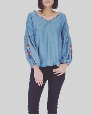 Frankie Embroidered Sleeve Tops