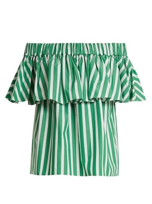 Maison Rabih Kayrouz Off Shoulder Green Stripe Top Tops