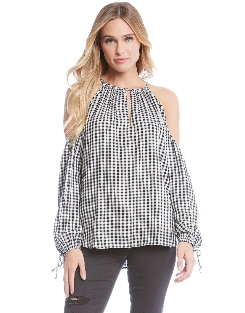 Fifteen Twenty Gingham Cold Shoulder Top Tops