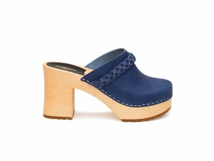 Swedish Hasbeens Laila Braided Clog in Blue Nubuck Shoes