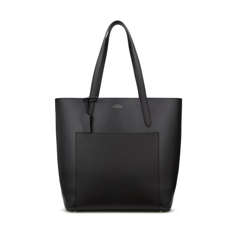 Smythson Panama North South Tote in Black Bags