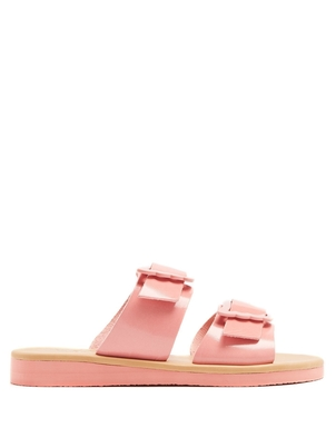 Ancient Greek Sandals Iaso Double Buckle Strap Glossy Light Pink Slip On Shoes