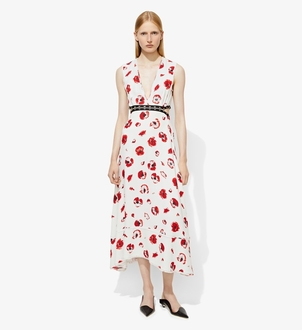 Proenza Schouler PROENZA SCHOULER S/L LONG V-NECK PRINTED VISCOSE DRESS CREPE Dresses
