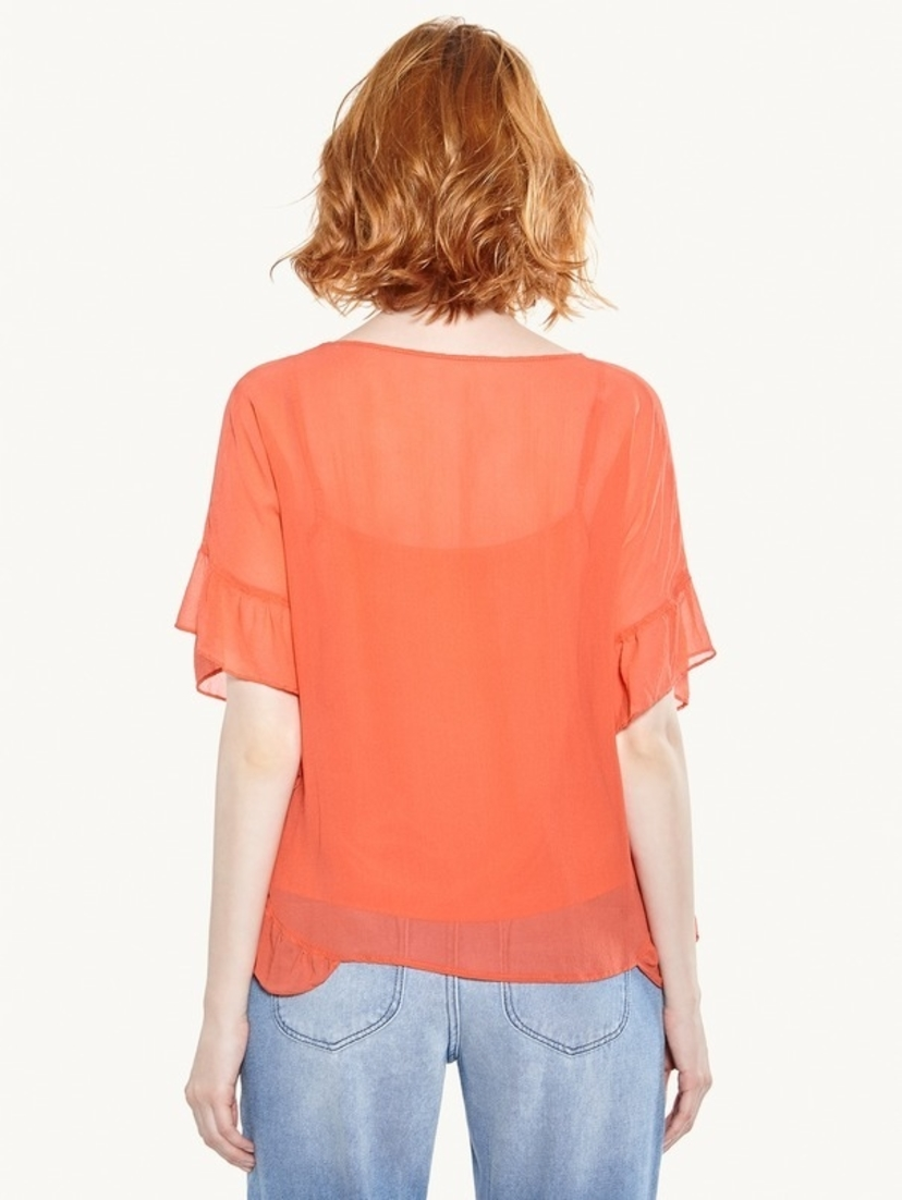 Cotelac Frilled Short Sleeve Blouse - Corail Tops
