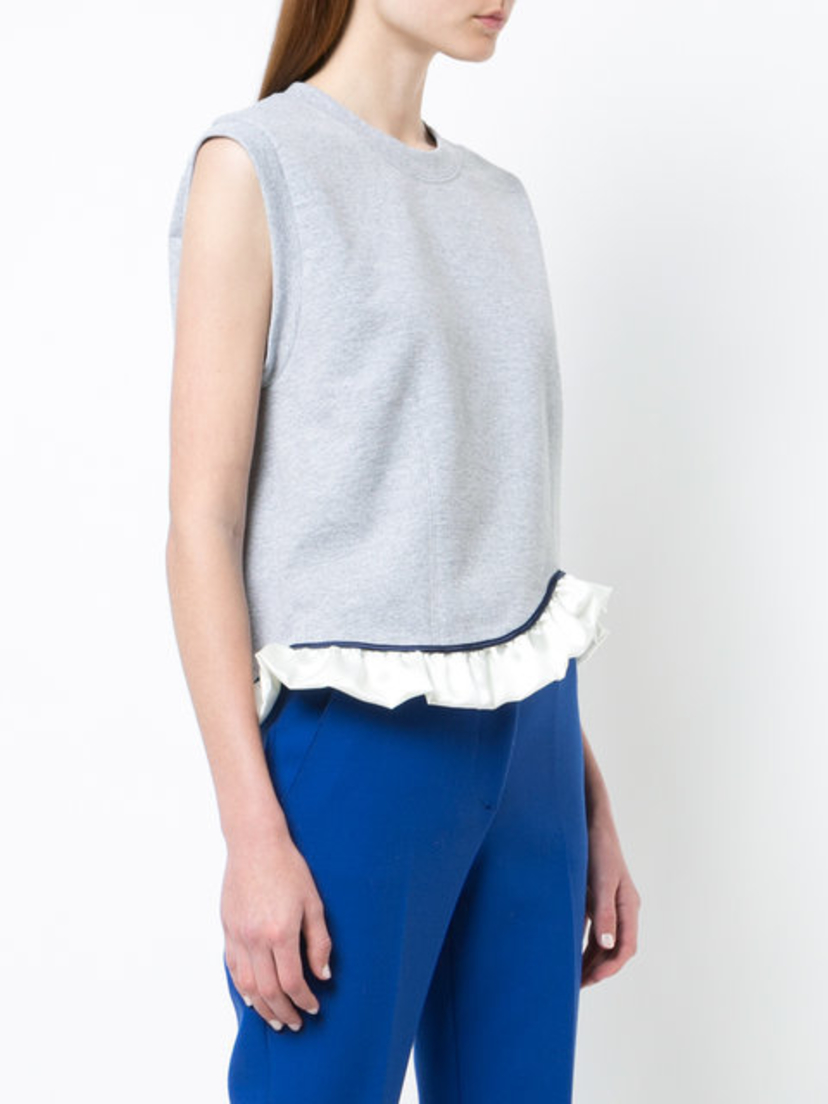 Harvey Faircloth Ruffle Hem Sweatshirt Grey Tops