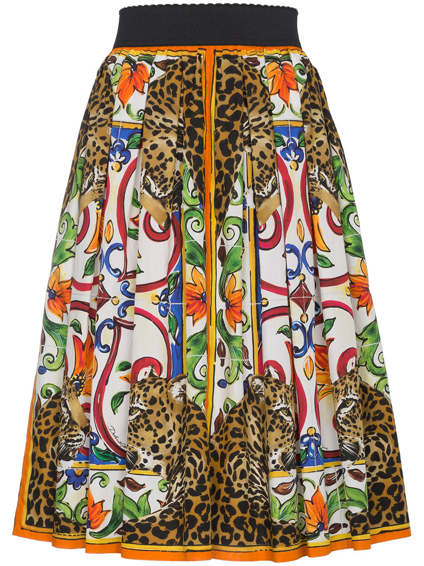 Dolce & Gabbana Cotton Printed Midi Skirt in Majolica Skirts
