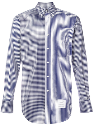 Thom Browne CHECKED AND STRIPED BUTTON DOWN SHIRT Men's
