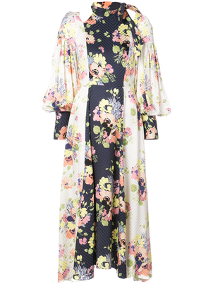 Jill Stuart Silk Long Sleeve Tie Neck Floral Dress Dresses