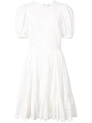 Jill Stuart Cotton Eyelet Short Sleeve Midi Dress Dresses
