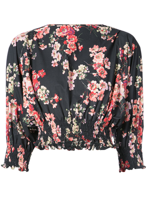 Jill Stuart Cotton Blossom Print Long Sleeve Crop Top Pants Tops