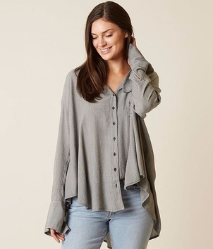 Free People Oversized Button Up Blouse Tops