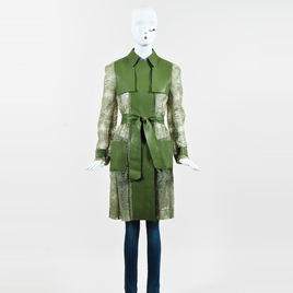 Valentino Green Faux Leather & Lace Sheer Back Belted Trench Coat SZ 6