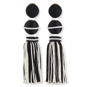 Oscar de la Renta Black & White Tassel Earrings Jewelry