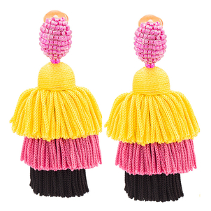 Oscar de la Renta Spinel Long Silk Tiered Tassel Earrings Jewelry
