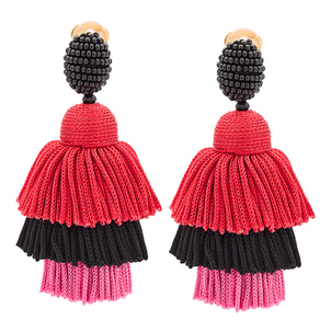 Oscar de la Renta Red Long Silk Tiered Tassel Earrings Jewelry