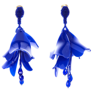 Oscar de la Renta Pacific Blue Large Impatiens Flower Drop Earrings Jewelry
