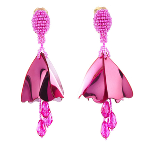 Oscar de la Renta Hot Pink Mini Impatiens Drop Earrings Jewelry
