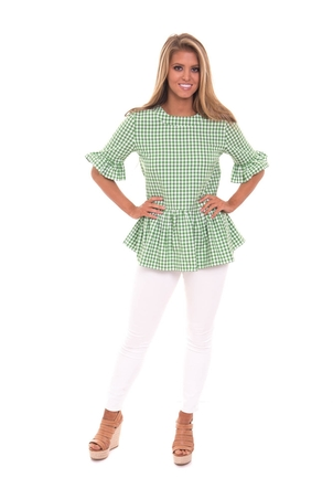 LaRoque Betty B Top - Green Check Tops