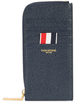 Thom Browne HALF ZIP AROUND WALLET WITH CONTRAST STRIPE Men's