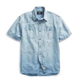 Ralph Lauren COTTON LINEN CHAMBRAY SHIRT Men's